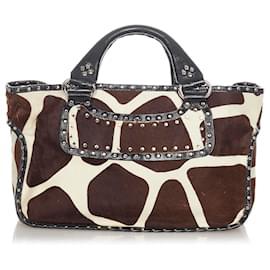 Céline-Celine Brown Boogie Pony Hair Handbag-Brown,White