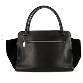 Céline-Medium suede and black leather trapeze-Black