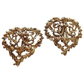 Yves Saint Laurent-Arty clip earrings-Golden