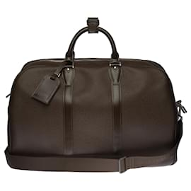 """Louis Vuitton-Very Chic """"Kendall"""" travel bag in brown taiga leather and brown fabric, Garniture en métal argenté-Brown"""