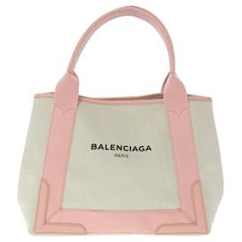 Balenciaga-Balenciaga White Navy Cabas S Canvas Tote Bag-Pink,White