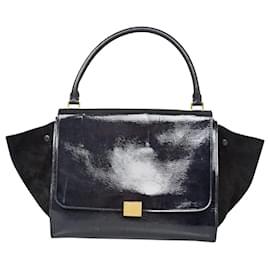 Céline-Celine Black Trapeze Leather Handbag-Black