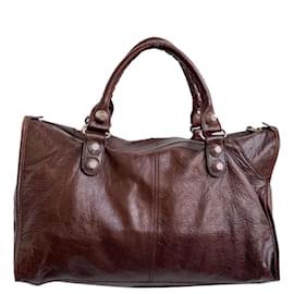Balenciaga-Balenciaga Brown Motocross City Giant 21 Leather Handbag-Brown,Dark brown