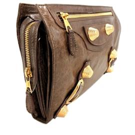 Balenciaga-Balenciaga Brown Motocross Giant 21 Leather Clutch Bag-Brown