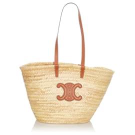 Céline-Celine Brown Basket Straw Tote Bag-Brown,Beige