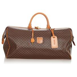 Céline-Celine Brown Macadam Travel Bag-Brown,Dark brown