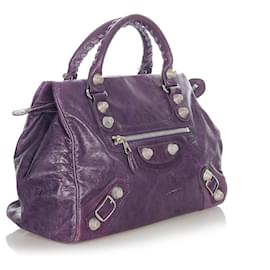 Balenciaga-Balenciaga Purple Motocross Giant City Leather Handbag-Purple