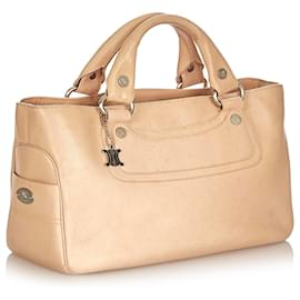 Céline-Celine Brown Boogie Leather Handbag-Brown,Beige