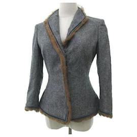 Alexander Mcqueen-[Used] Alexander McQueen ALEXANDER MCQUEEN Wool jacket Rabbit fur Slim silhouette-Brown,Grey