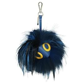 Fendi-Blue Fur Monster Bag Charm-Blue