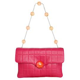 "Chanel-Vintage Pink Choco Bar Lambskin ""CC"" Handbag-Pink"