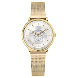 Versace-V-Circle Medusa Watch-Golden,Metallic