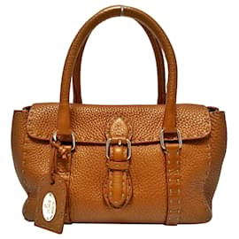 Fendi-Fendi Brown Mini Selleria Linda Leather Handbag-Brown