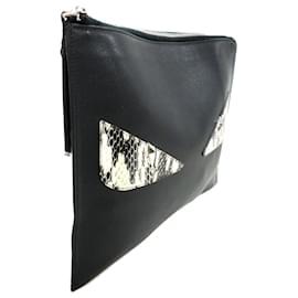 Fendi-Fendi Black Monster Leather Clutch Bag-Black,Multiple colors