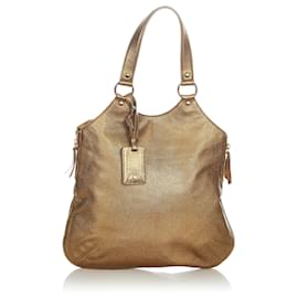 Yves Saint Laurent-YSL Gold Sac Metropolis Leather Tote Bag-Golden