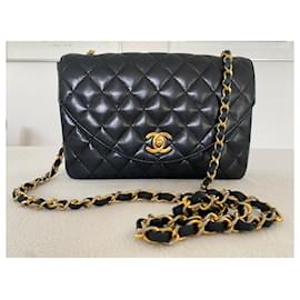 Chanel-Chanel lambskin flap bag 9 , Used in good condition. It's really classic and timeless design.-Black