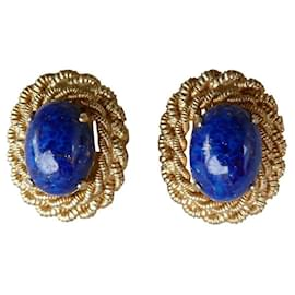 Dior-Boucles d'oreilles-Bleu,Doré