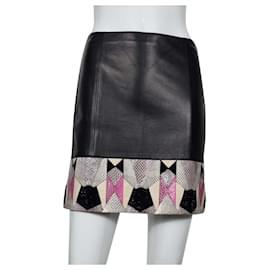 Versace-Versace snakes leather skirt-Black