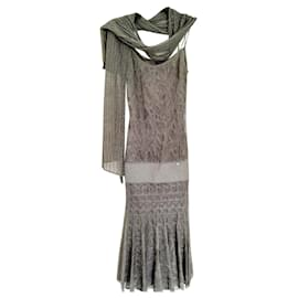 Chanel-Evening dress + Chanel scarf-Silvery,Grey,Bronze