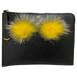 Fendi-Fendi Black Monster Leather Clutch Bag-Black,Yellow
