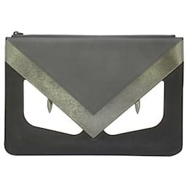 Fendi-Fendi Black Monster Leather Clutch Bag-Black,Grey