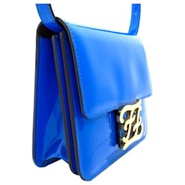 Fendi-Fendi Blue Karligraphy Patent Leather Crossbody Bag-Blue