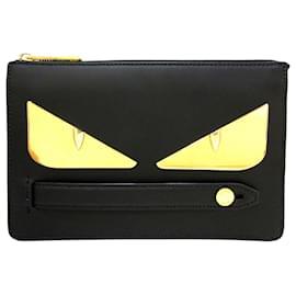 Fendi-Fendi Black Monster Leather Clutch Bag-Black,Golden