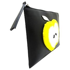 Fendi-Fendi Black Shearling Apple Leather Clutch Bag-Black,Multiple colors