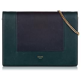 Céline-Celine Green Frame Leather Wallet On Chain-Black,Green,Dark green