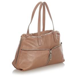 Fendi-Fendi Brown Leather Shoulder Bag-Brown