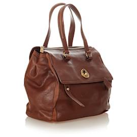 Yves Saint Laurent-YSL Brown Muse Two Leather Handbag-Brown