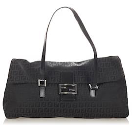 Fendi-Fendi Black Zucchino Canvas Shoulder Bag-Black