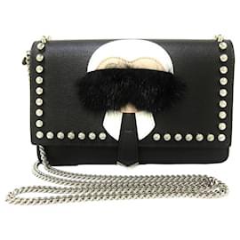 Fendi-Fendi Black Karlito Leather Wallet on Chain-Black,White