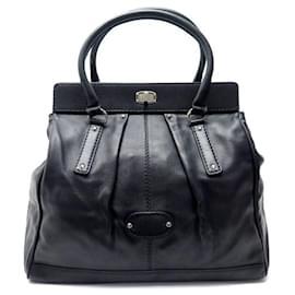 Balenciaga-BALENCIAGA LE DIX XL WEEKEND HAND TRAVEL BAG 197462 BLACK LEATHER TRAVEL BAG-Black