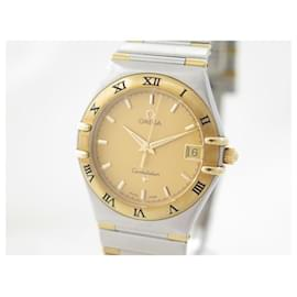 Omega-NEW OMEGA CONSTELLATION WATCH 33 MM QUARTZ GOLD AND BRUSHED STEEL GOLD WATCH-Silvery