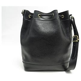 Céline-VINTAGE HANDBAG CELINE BUCKET IN BLACK SEED LEATHER BANDOULIERE HAND BAG-Black