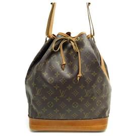 Louis Vuitton-VINTAGE HANDBAG LOUIS VUITTON NOE GM BUCKET CANVAS MONOGRAM M42224 HANDBAG-Brown