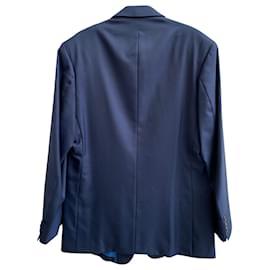 Gianni Versace-Gianni Versace Single Breasted Blazer in Blue Wool-Blue
