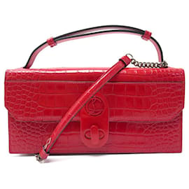 Christian Louboutin-NEW CHRISTIAN LOUBOUTIN ELISA BAGUETTE BANDOULIERE CROCO LEATHER-Red