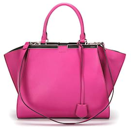 Fendi-Fendi Leather 3Jours Tote Bag in pink calf leather leather-Pink