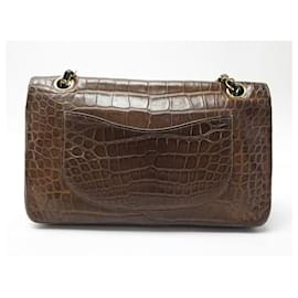 Chanel-VINTAGE CHANEL CLASSIC TIMELESS HANDBAG IN BROWN CROCODILE LEATHER HAND BAG-Brown