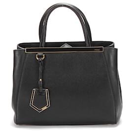 Fendi-Fendi Leather 2Jours Tote Bag in black calf leather leather-Black