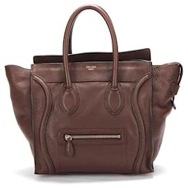 Céline-Celine Leather Luggage Tote in brown calf leather leather-Brown