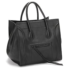 Céline-Celine Leather Phantom Luggage Tote in black calf leather leather-Black