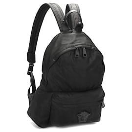 Versace-Versace Nylon Medusa Backpack in black nylon-Black