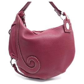 Fendi-FENDI HOBO HANDBAG 8BR297 RED SEED LEATHER HAND BAG PURSE-Red