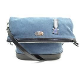 Céline-CELINE HANDBAG BLUE DENIM CANVAS & BLACK PATENT LEATHER CROSSBODY HAND BAG PURSE-Blue