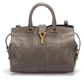 Yves Saint Laurent-Yves Saint Laurent Leather Y Cabas Bag in brown calf leather leather-Brown