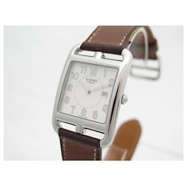 Hermès-HERMES CAPE COD GM CC WATCH2.710 29 MM STEEL QUARTZ + STEEL WATCH BOX-Silvery