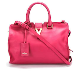 Yves Saint Laurent-Yves Saint Laurent Leather Y Cabas Bag in pink calf leather leather-Pink